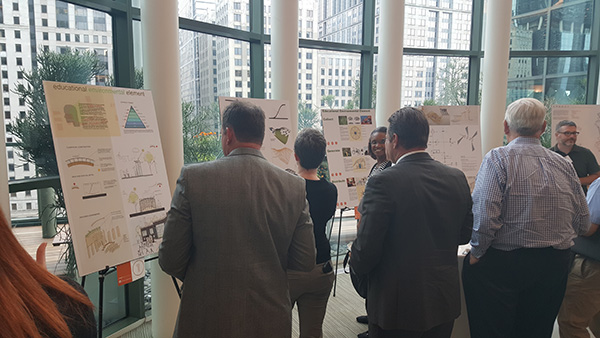 "Chicago's skyline set the backdrop as participants voted on design concepts for an ""Educational Environmental Element."""