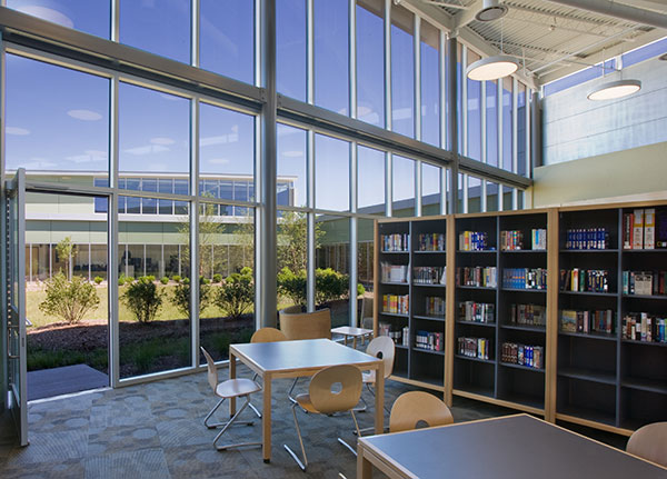 The design of Colin Powell Middle School, an early adopter of sustainable strategies, emphasizes natural light and views to the outdoors.